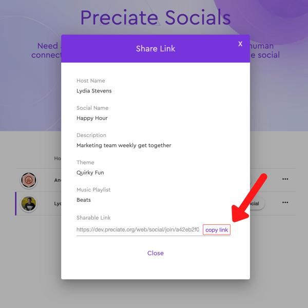 copy link for preciate social