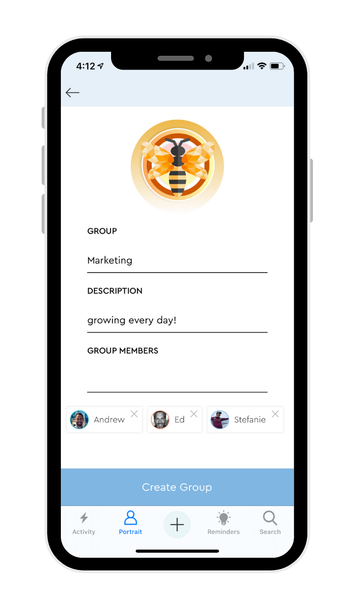 create group - mobile - filled out