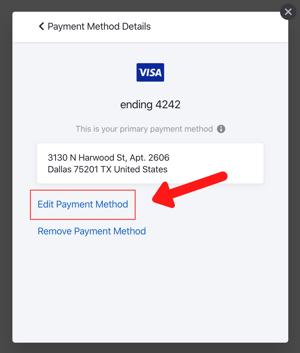 edit payment method - self serve portal