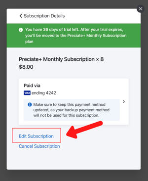 edit subscription for preciate+ to premium upgrade