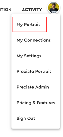 my portrait - web dropdown menu