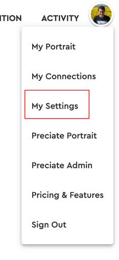 my settings - web dropdown menu
