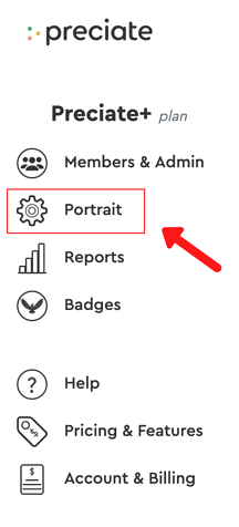 portrait in admin portal menu