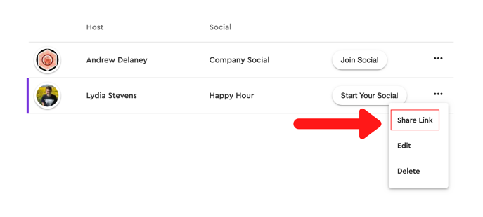 share link in menu for preciate social
